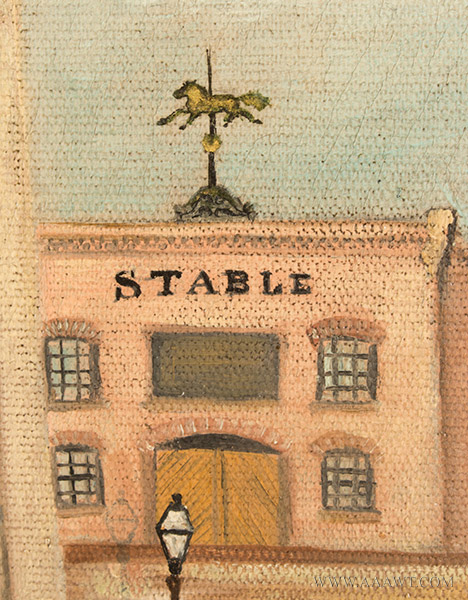 Nineteenth Century Painting, Gluek's Brewery, Minneapolis Signed and Dated ''G.S.K.'89'' at Lower Right, detail view 2