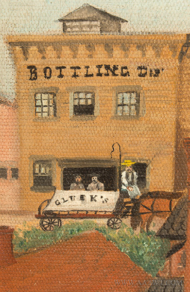 Nineteenth Century Painting, Gluek's Brewery, Minneapolis Signed and Dated ''G.S.K.'89'' at Lower Right, detail view 3