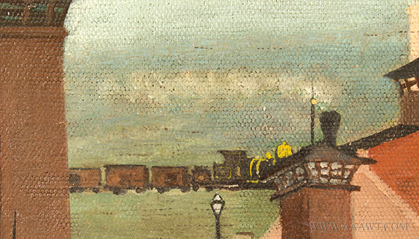 Nineteenth Century Painting, Gluek's Brewery, Minneapolis Signed and Dated ''G.S.K.'89'' at Lower Right, detail view 4