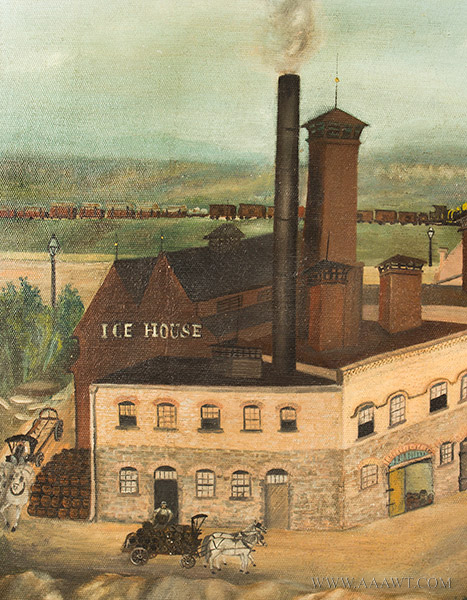 Nineteenth Century Painting, Gluek's Brewery, Minneapolis Signed and Dated ''G.S.K.'89'' at Lower Right, detail view 5