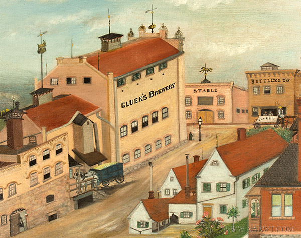 Nineteenth Century Painting, Gluek's Brewery, Minneapolis Signed and Dated ''G.S.K.'89'' at Lower Right, detail view 6