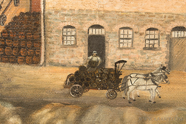 Nineteenth Century Painting, Gluek's Brewery, Minneapolis Signed and Dated ''G.S.K.'89'' at Lower Right, detail view 7