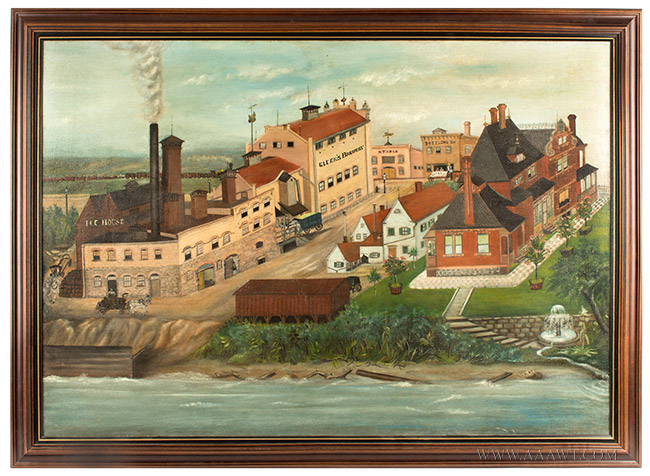 Nineteenth Century Painting, Gluek's Brewery, Minneapolis Signed and Dated ''G.S.K.'89'' at Lower Right, entire view