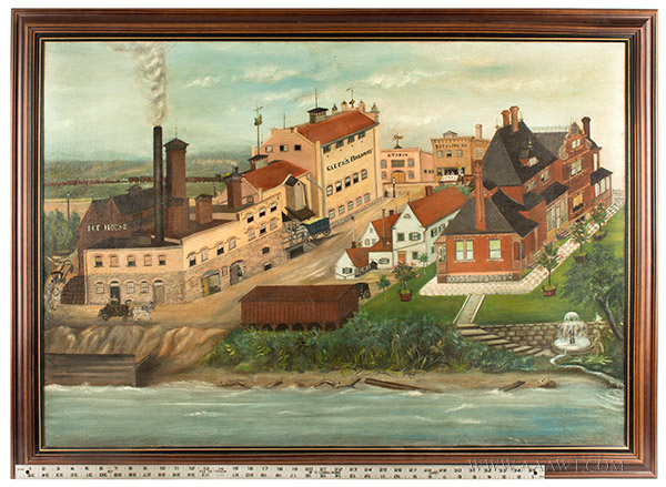 Nineteenth Century Painting, Gluek's Brewery, Minneapolis Signed and Dated ''G.S.K.'89'' at Lower Right, scale view