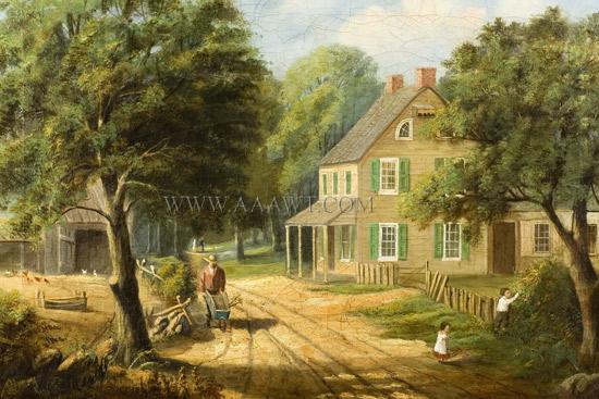 Paintings, Pair, American Homestead Winer & Summer, summer view sans frame