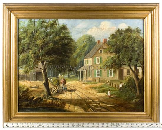 Paintings, Pair, American Homestead Winer & Summer, scale view