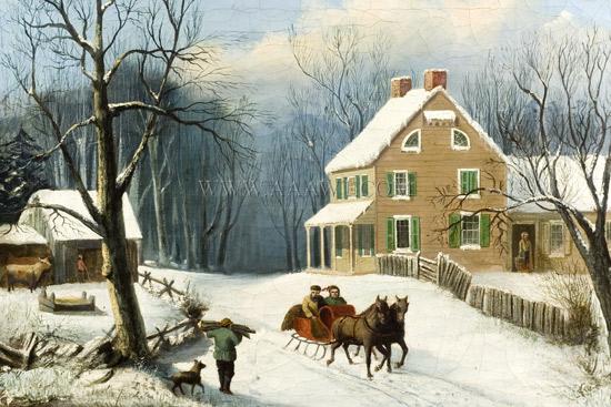 Paintings, Pair, American Homestead Winer & Summer, winter view sans frame