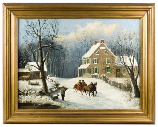 Paintings, Pair, American Homestead Winer & Summer, entire view winter