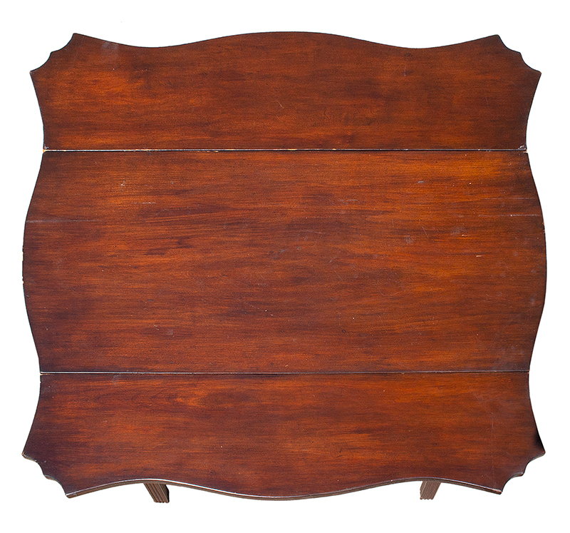 Period Chippendale Pembroke Table, Shaped Top, Fluted Legs, Shaped Fly Rail Probably Connecticut, top view