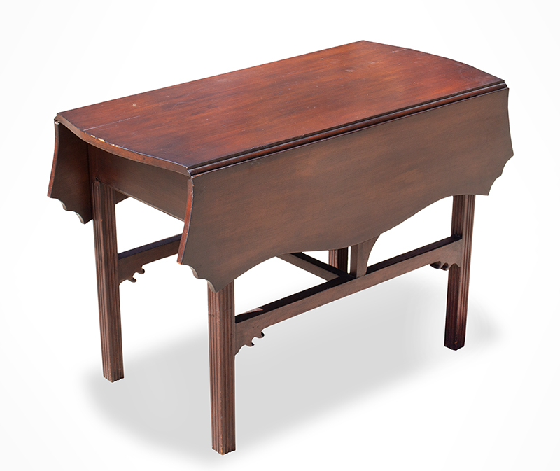 Period Chippendale Pembroke Table, Shaped Top, Fluted Legs, Shaped Fly Rail Probably Connecticut, entire view 1