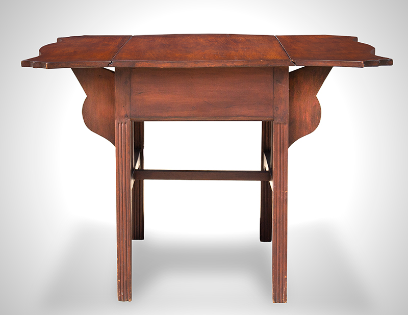 Period Chippendale Pembroke Table, Shaped Top, Fluted Legs, Shaped Fly Rail Probably Connecticut, entire view 3