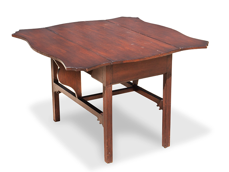 Period Chippendale Pembroke Table, Shaped Top, Fluted Legs, Shaped Fly Rail Probably Connecticut, entire view 4