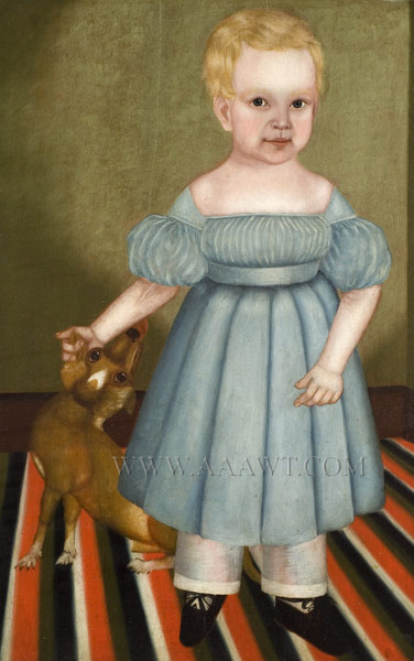 Folk Art Portrait, Full Length Child with Dog Standing on Floor Cloth James Burroughs, Age 17 Mos. by M. Burroughs, Circa 1830s Oil on whitewood panel, painted and smoke-decorated frame, detail view