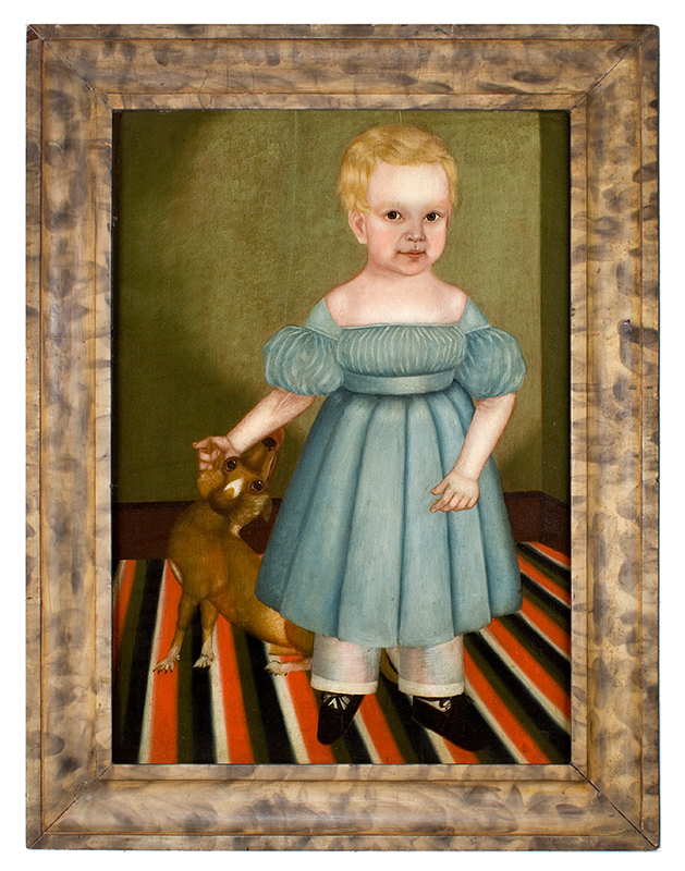 Folk Art Portrait, Full Length Child with Dog Standing on Floor Cloth James Burroughs, Age 17 Mos. by M. Burroughs, Circa 1830s Oil on whitewood panel, painted and smoke-decorated frame, entire view