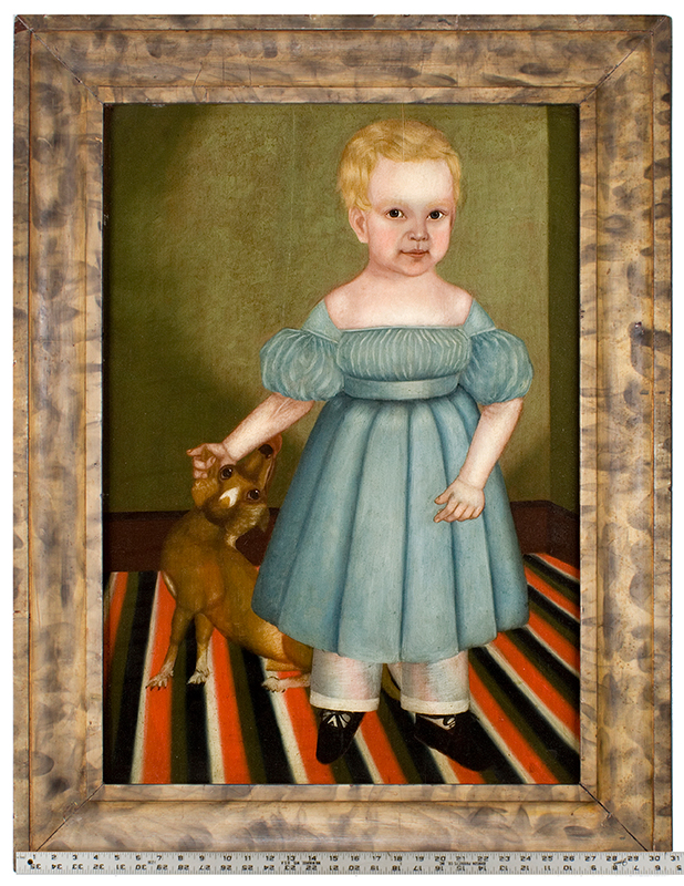 Folk Art Portrait, Full Length Child with Dog Standing on Floor Cloth James Burroughs, Age 17 Mos. by M. Burroughs, Circa 1830s Oil on whitewood panel, painted and smoke-decorated frame, scale view