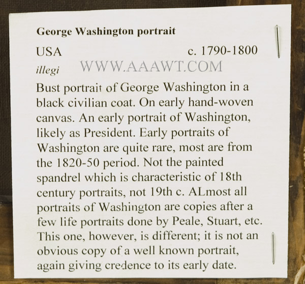 Portrait, George Washington, back detail