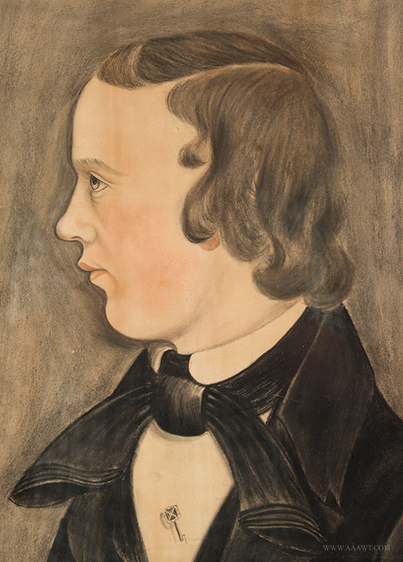 Folk Art, Pastel Profile Portrait of Young Man, American School Likely Midwest, [Ohio] Anonymous, sans frame