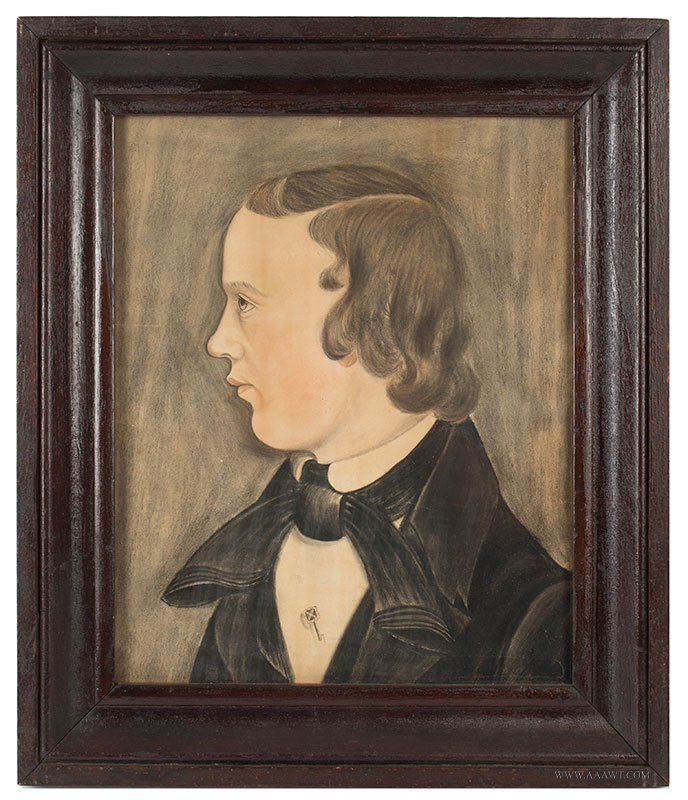 Folk Art, Pastel Profile Portrait of Young Man, American School Likely Midwest, [Ohio] Anonymous, entire view