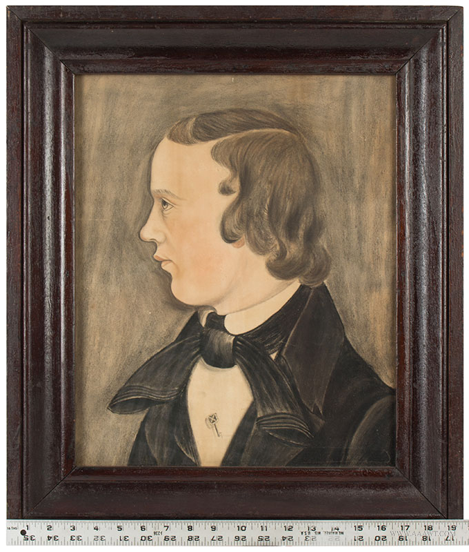 Folk Art, Pastel Profile Portrait of Young Man, American School Likely Midwest, [Ohio] Anonymous, scale view