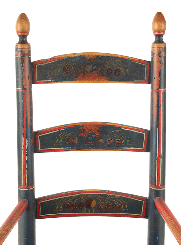 Antique Rocking Chair, Child's, Original Red, White and Blue Paint New England, circa 1800-1840  Best paint, splats display strawberry decoration, back detail