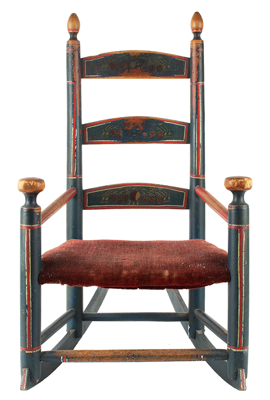 Antique Rocking Chair, Child's, Original Red, White and Blue Paint New England, circa 1800-1840  Best paint, splats display strawberry decoration, angle view 1