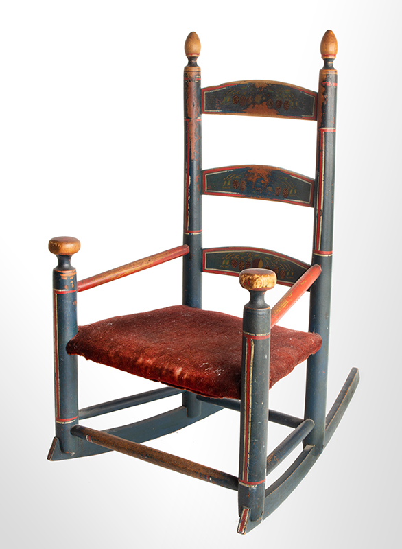 Antique Rocking Chair, Child's, Original Red, White and Blue Paint New England, circa 1800-1840  Best paint, splats display strawberry decoration, angle view 2