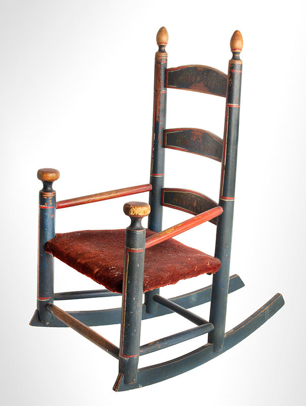 Antique Rocking Chair, Child's, Original Red, White and Blue Paint New England, circa 1800-1840  Best paint, splats display strawberry decoration, angle view 3