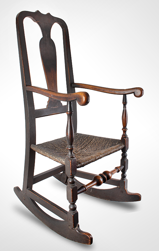 18th Century Queen Anne Rocking Chair, Outstanding Surface History New England, circa 1750 Robust and elegant turnings, generous proportions, great comfort…, entire view 1
