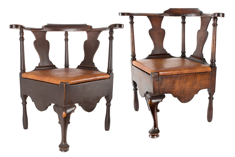 Near Pair of Roundabout Chairs by a Single Maker in Same Shop, Original Surface New England, Circa 1775-1800 Maple, entire view