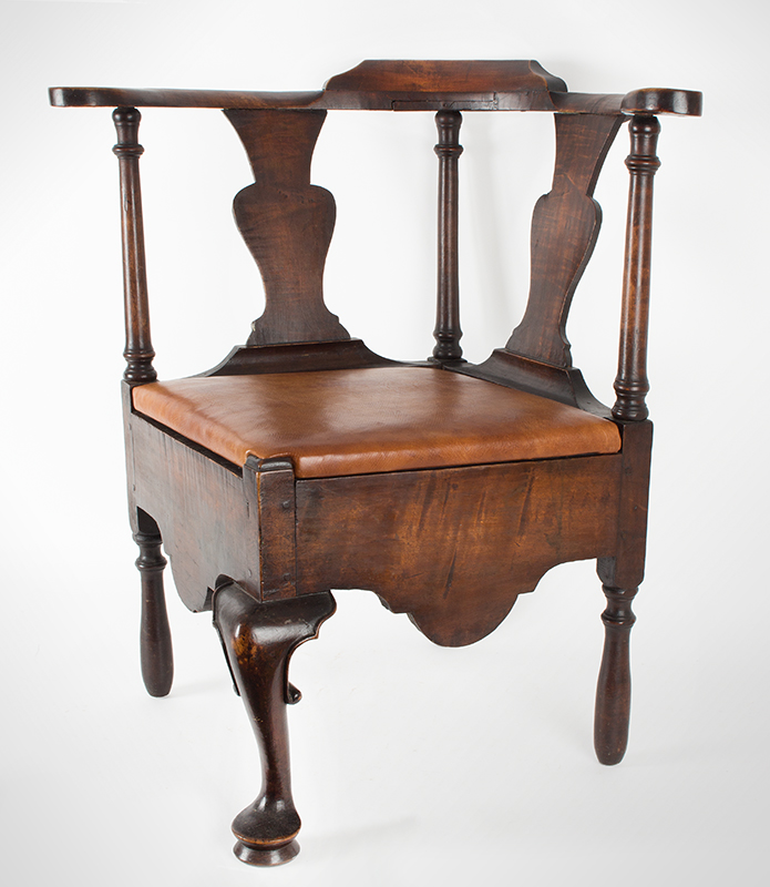 Near Pair of Roundabout Chairs by a Single Maker in Same Shop, Original Surface New England, Circa 1775-1800 Maple, angle view 1