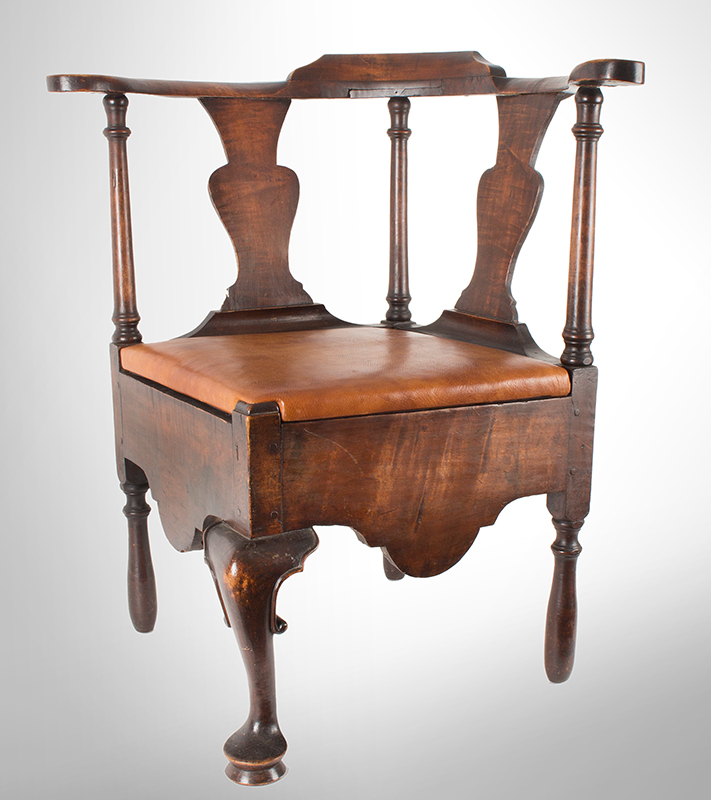 Near Pair of Roundabout Chairs by a Single Maker in Same Shop, Original Surface New England, Circa 1775-1800 Maple, angle view 2