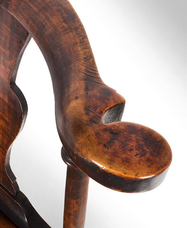 Near Pair of Roundabout Chairs by a Single Maker in Same Shop, Original Surface New England, Circa 1775-1800 Maple, arm rest detail