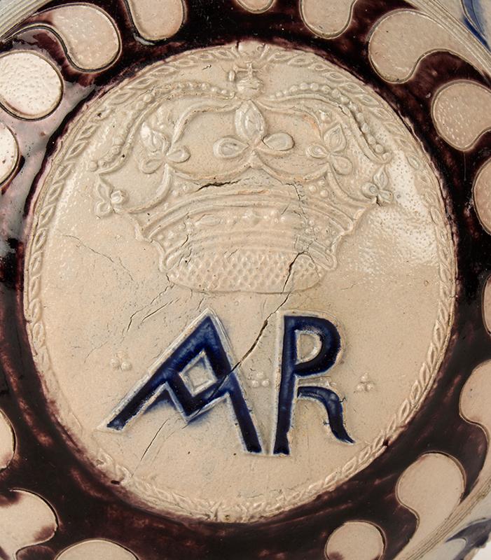 Westerwald Jug, AR, Salt Glazed Stoneware, Incised & Applied Decoration Germany, detail view