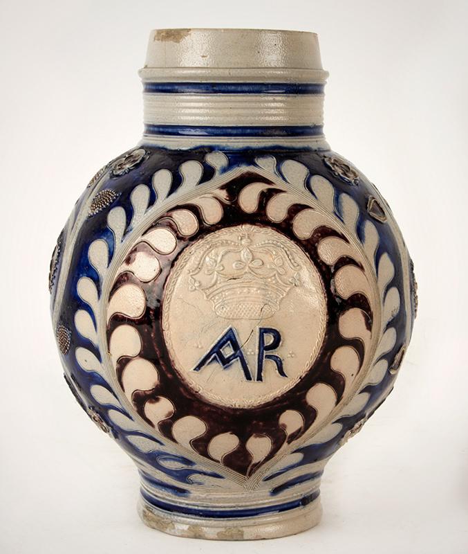 Westerwald Jug, AR, Salt Glazed Stoneware, Incised & Applied Decoration Germany, entire view 1