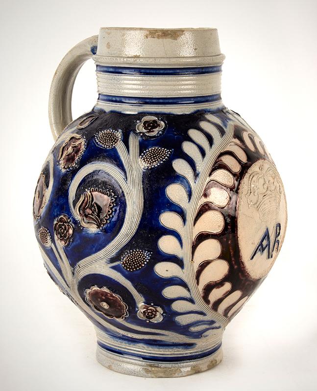 Westerwald Jug, AR, Salt Glazed Stoneware, Incised & Applied Decoration Germany, entire view 2