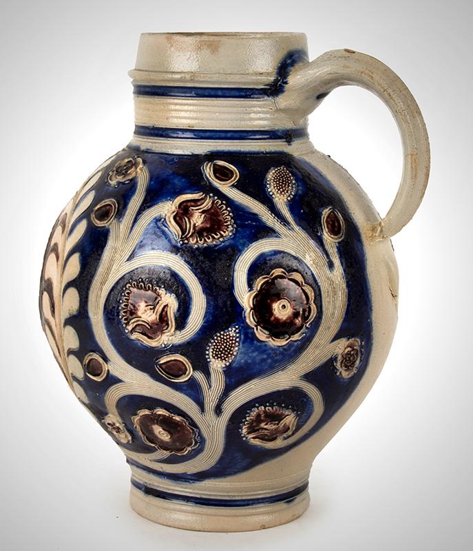 Westerwald Jug, AR, Salt Glazed Stoneware, Incised & Applied Decoration Germany, entire view 4