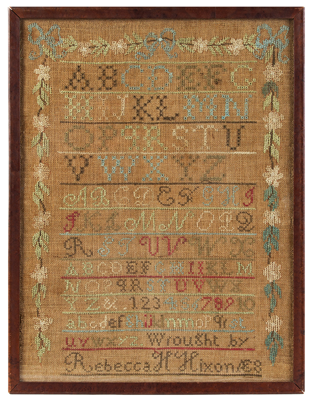 Nineteenth Century Maine Needlework Sampler & Silhouette Wrought by Rebecca H. Nixon, AE 8 Silhouette Attributed to James Holsey Whitcomb, a Deaf-Mute of Hancock, New Hampshire., sampler