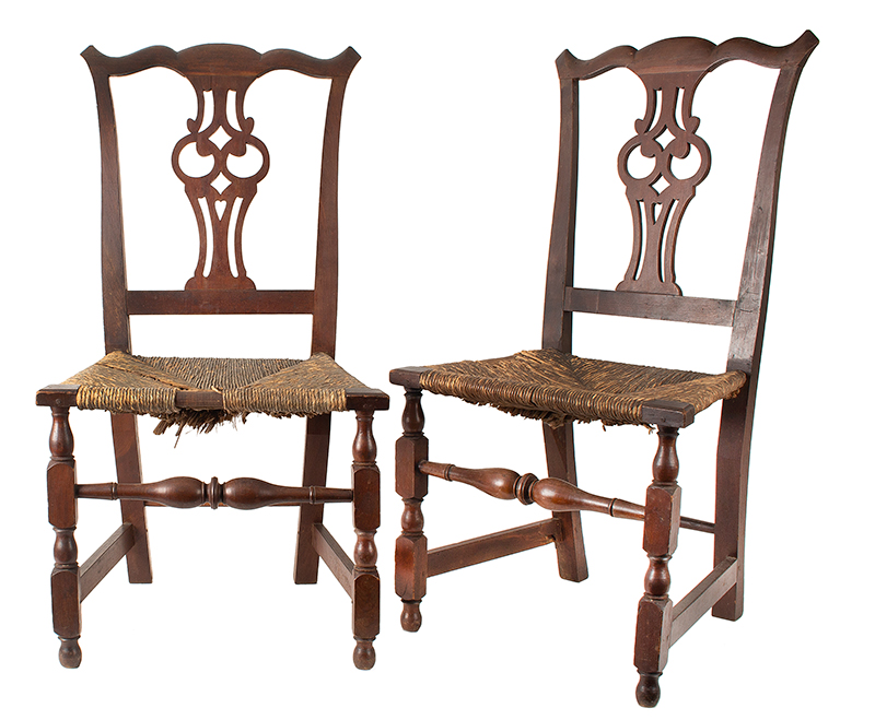 Antique Side Chairs, Chippendale, Pierced Splats, Original Surface, Rush Seats Massachusetts, likely Salem Cherry, displaying rich color and patina, entire view