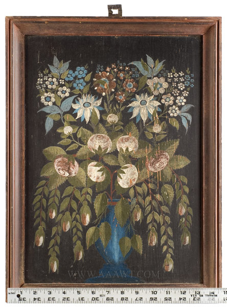 Still Life, Oil on Panel, Flowers, Folk Art, Found in Augusta County, Virginia, scale view