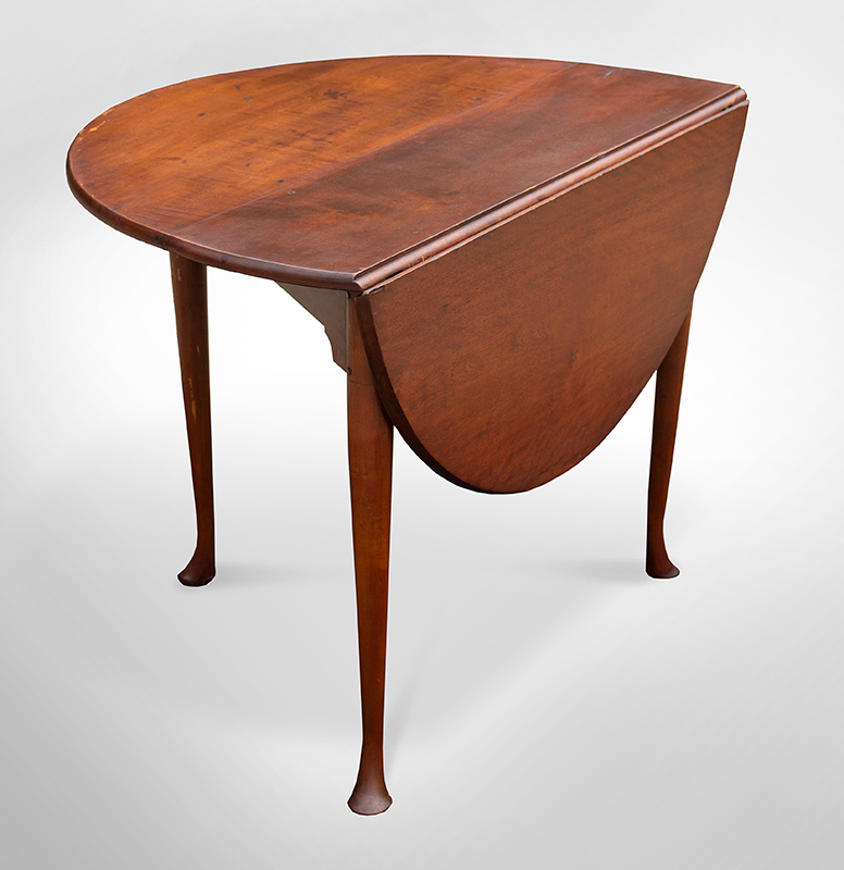 Queen Anne Drop Leaf Table, Three Legs, Single Gateleg and Falling Leaf Likely Rhode Island…Very Rare Form, entire view 1