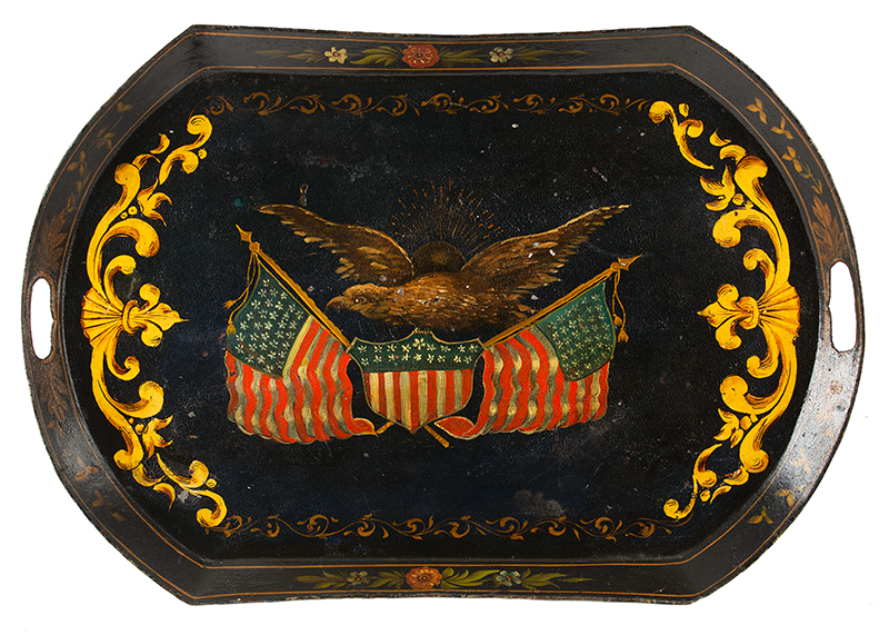Federal Period Sheet Iron Tray, Patriotic Decoration, Pierced Handles American, unknown decorator, entire view 1