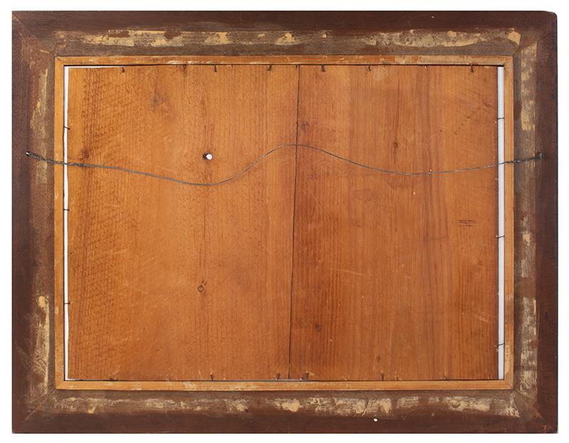 Folk Art, American Harbor Scene, Sailing Ships, Identified Buildings Possibly Manhattan, New York City, back view