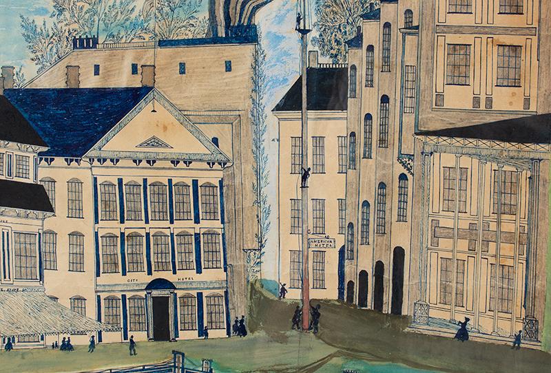 Folk Art, American Harbor Scene, Sailing Ships, Identified Buildings Possibly Manhattan, New York City, detail view 2