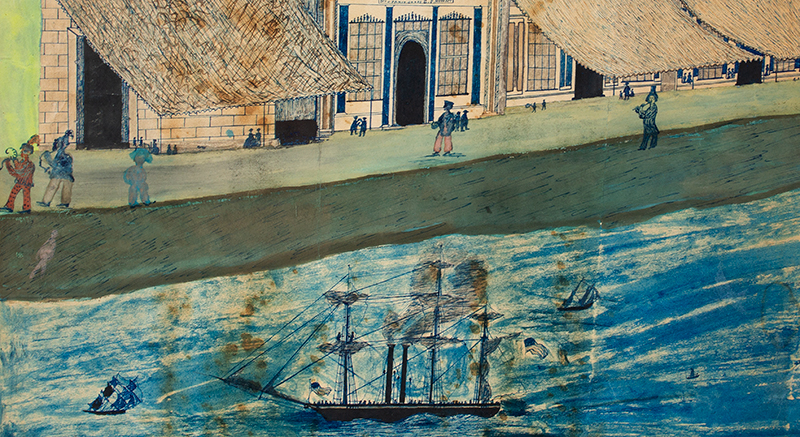 Folk Art, American Harbor Scene, Sailing Ships, Identified Buildings Possibly Manhattan, New York City, detail view 4
