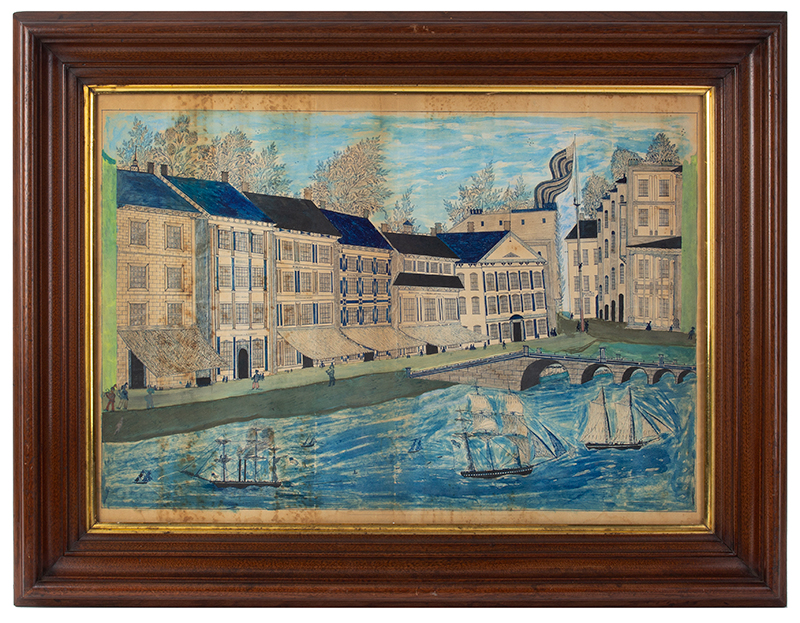 Folk Art, American Harbor Scene, Sailing Ships, Identified Buildings Possibly Manhattan, New York City, entire view 1