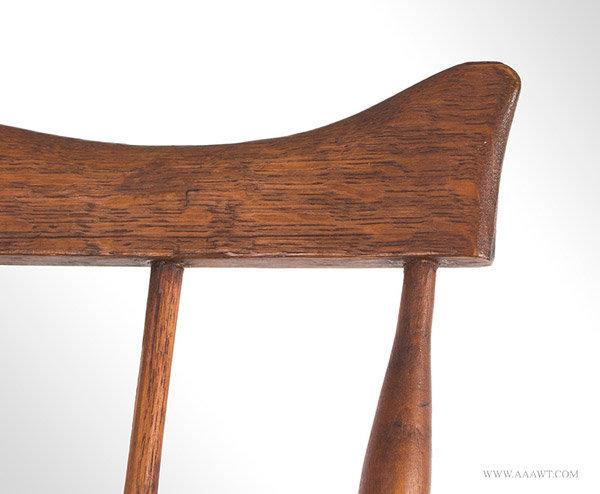 Antique Fan Back Windsor Side Chair, Circa 1780, rail tips detail