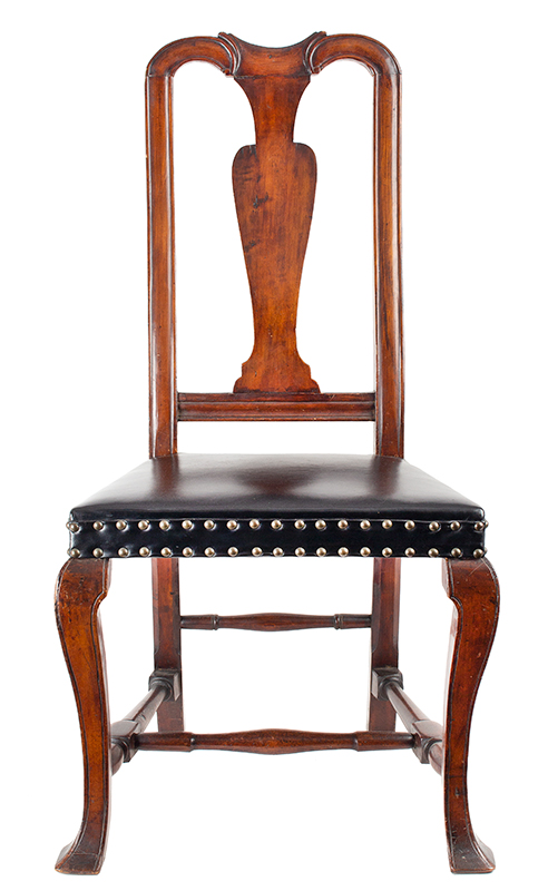 Antique, Queen Anne Side Chairs, Assembled, Leather Seats, Vasiform Splats New England, Possibly New Hampshire, circa 1725-1750, chair 1 view 1