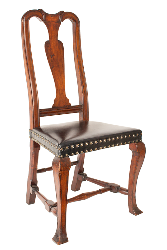 Antique, Queen Anne Side Chairs, Assembled, Leather Seats, Vasiform Splats New England, Possibly New Hampshire, circa 1725-1750, chair 1 view 2