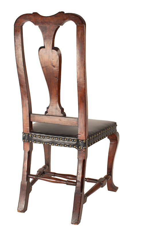 Antique, Queen Anne Side Chairs, Assembled, Leather Seats, Vasiform Splats New England, Possibly New Hampshire, circa 1725-1750, chair 1 view 3