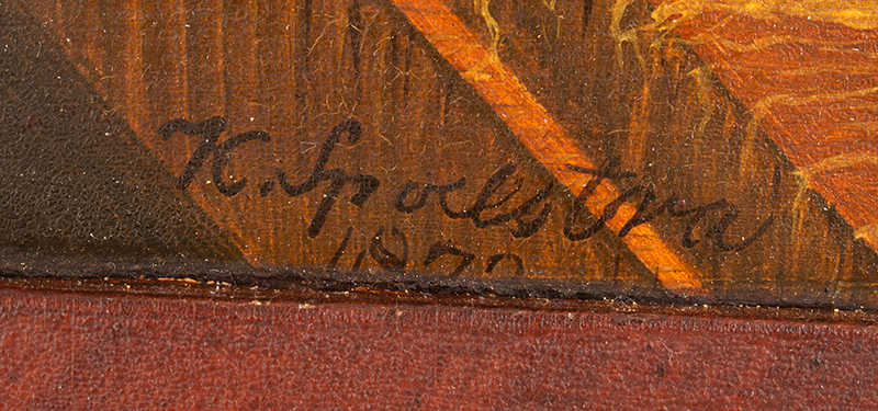 Antique Folk Art Painting on Panel, Prized Bull Standing in Stall Illegibly Signed at Lower Left, also, AJR 1872 on Beam at Left, signature detail